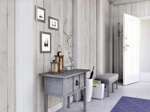 White timber PVC bathroom panel